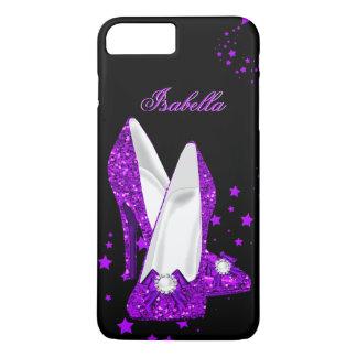 Glitter Purple High Heels Black iPhone 7 Plus Case