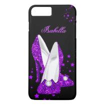 Glitter Purple High Heels Black iPhone 8 Plus/7 Plus Case