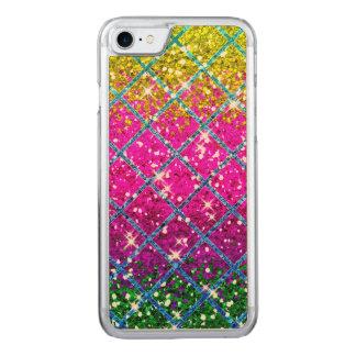 Glitter Purple Snakeskin Carved iPhone 7 Case