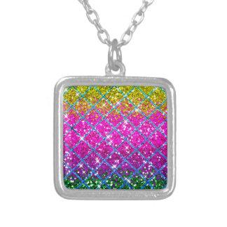 Glitter Purple Snakeskin Square Pendant Necklace