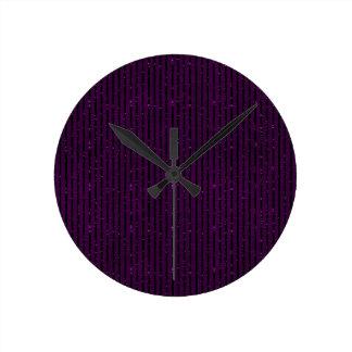 glitter purple stripes round clock