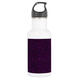 glitter purple stripes stainless steel water bottle