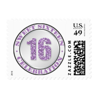 Glitter Purple Sweet 16 Celebration Postage Stamps