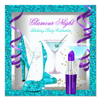 Glitter Purple Teal Glamour Night Martini Party Card