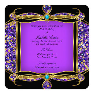 Glitter Purple Teal Gold Black Birthday Party Card