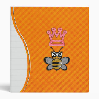 Glitter Queen Bee on Orange flannel background 3 Ring Binder