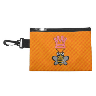 Glitter Queen Bee on Orange flannel background Accessories Bag
