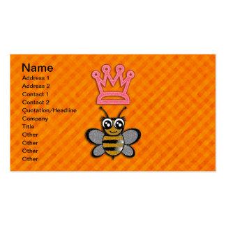 Glitter Queen Bee on Orange flannel background Business Cards
