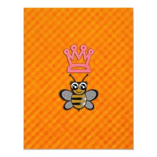 "Glitter Queen Bee on Orange flannel background 4.25"" X 5.5"" Invitation Card"