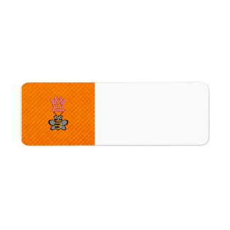 Glitter Queen Bee on Orange flannel background Label