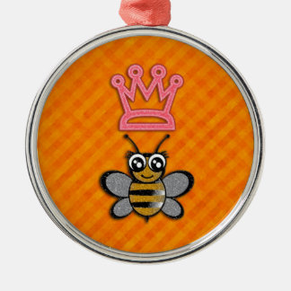 Glitter Queen Bee on Orange flannel background Christmas Ornament