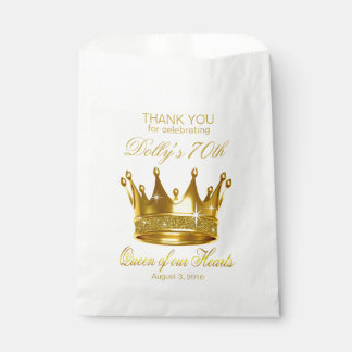 Glitter Queen of our Hearts 70th Birthday Crown Favor Bag