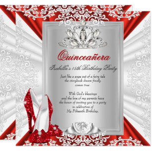 15th birthday party invitations announcements zazzle glitter quinceanera 15th birthday party red heels invitation filmwisefo