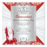 Glitter Quinceanera 15th Birthday Party Red Heels 5.25x5.25 Square Paper Invitation Card