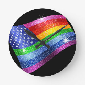 Glitter Rainbow American Flag Clock