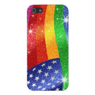 Glitter Rainbow American Flag iPhone Case