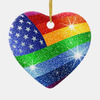 Glitter Rainbow American Flag Ornament