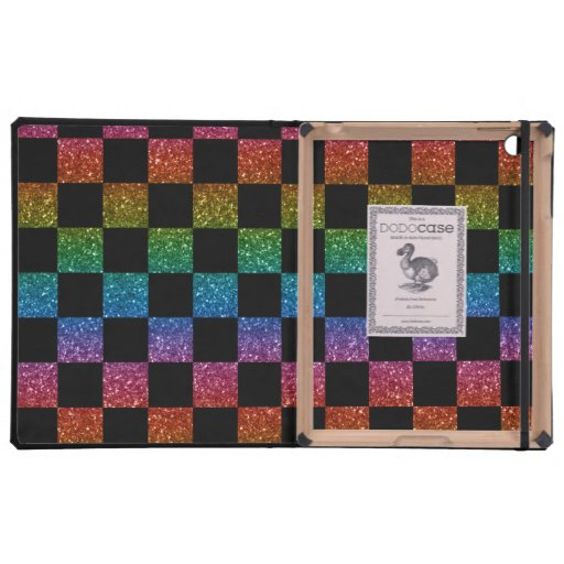 Glitter rainbow and black checkered pattern cover for iPad