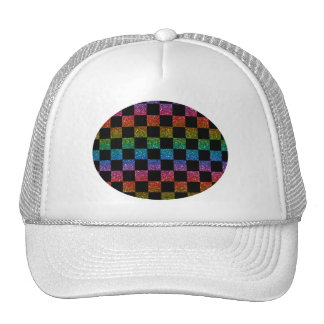 Glitter rainbow and black checkered pattern trucker hat