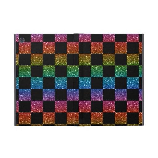 Glitter rainbow and black checkered pattern iPad mini cases