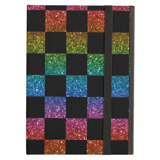Glitter rainbow and black checkered pattern iPad folio case