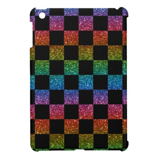 Glitter rainbow and black checkered pattern cover for the iPad mini