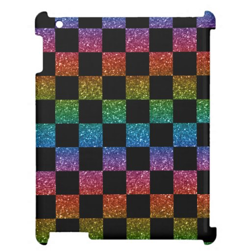 Glitter rainbow and black checkered pattern cover for the iPad 2 3 4