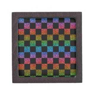 Glitter rainbow and black checkered pattern premium trinket boxes