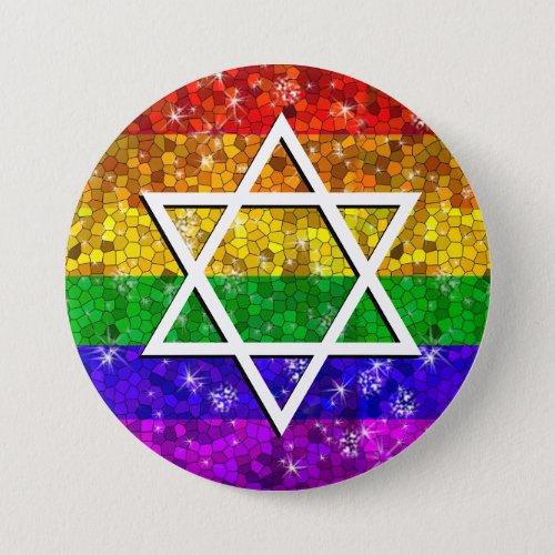 Glitter Rainbow Flag Gay Jewish Star of David Button