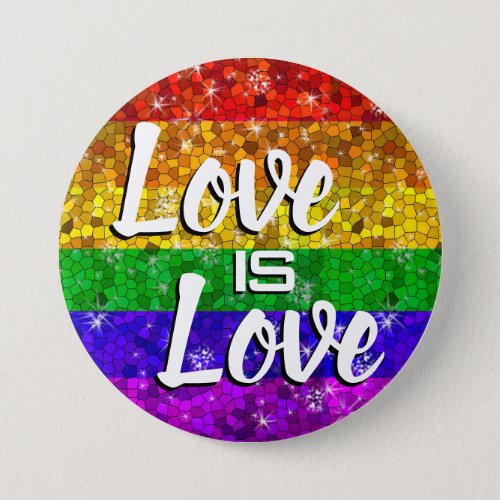 Glitter Rainbow Flag Marriage Equality Gay Pride Button