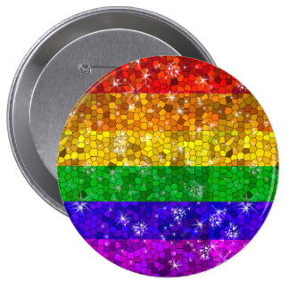Glitter Rainbow Flag Marriage Equality Gay Pride 4 Inch Round Button
