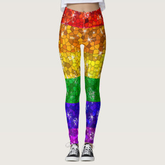 Glitter Rainbow Flag Marriage Equality Gay Pride Leggings