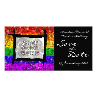 Glitter Rainbow Flag Marriage Equality Gay Pride Photo Card