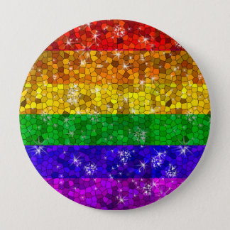 Glitter Rainbow Flag Marriage Equality Gay Pride Pinback Button