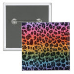 Glitter rainbow leopard print 2 inch square button