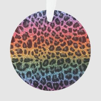 Glitter rainbow leopard print