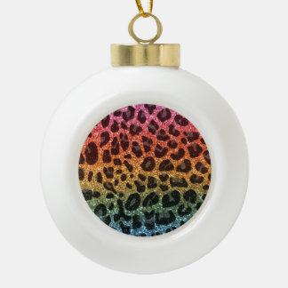 Glitter rainbow leopard print ornaments