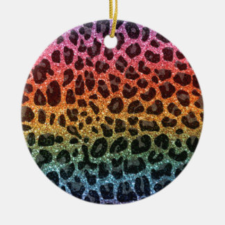 Glitter rainbow leopard print christmas ornament