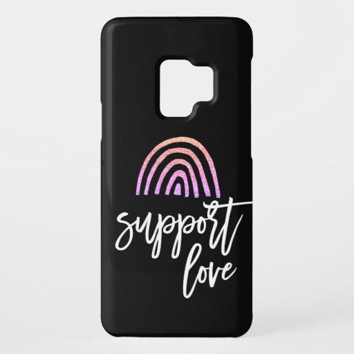 Glitter Rainbow Pride Support Love Script Case-Mate Samsung Galaxy S9 Case