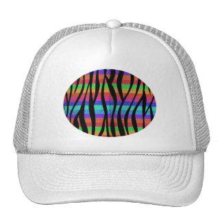 Glitter Rainbow zebra stripes Mesh Hat