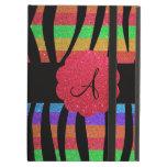 Glitter rainbow zebra stripes monogram iPad folio case