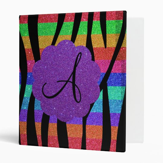 Glitter rainbow zebra stripes monograms 3 ring binder