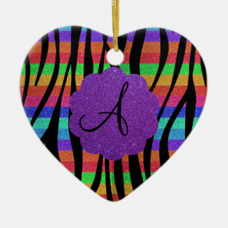 Glitter rainbow zebra stripes monograms ceramic ornament