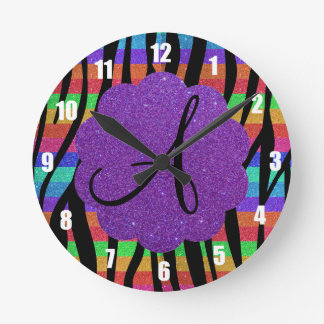 Glitter rainbow zebra stripes monograms round clock