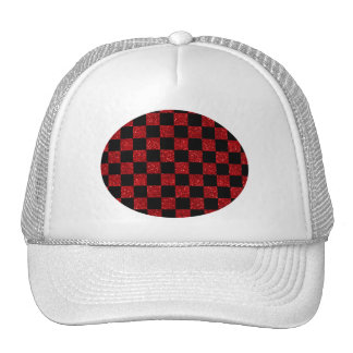 Glitter red and black checkered pattern trucker hat