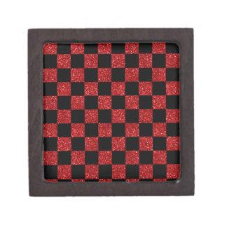 Glitter red and black checkered pattern premium gift box