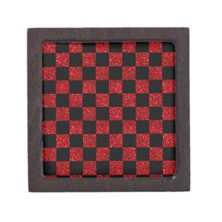 Glitter red and black checkered pattern premium keepsake boxes