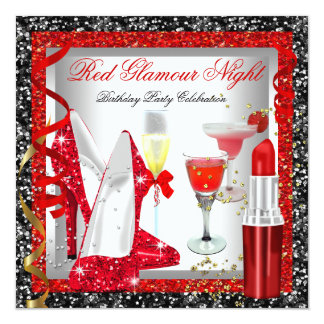 Glitter Red Black Glamour Night Cocktails Party Invitation