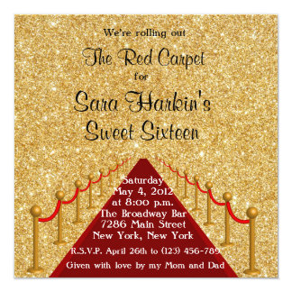 Glitter Red Carpet Hollywood Sweet 16 Invitation