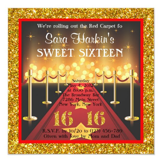 Glitter Red Carpet Hollywood Sweet 16 Invitation Zazzle Com